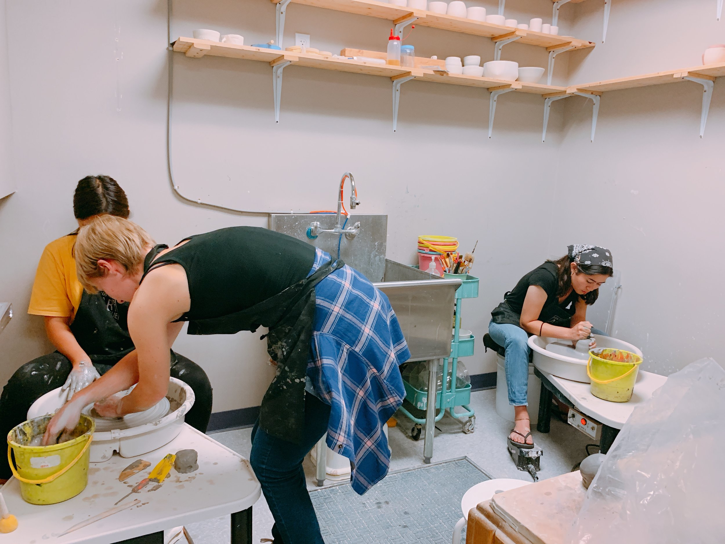 CERAMICS - Students will learn the wheel throwing process, and be able to make a cup, bowl and vase by the end of the class. Students will learn how to wedge clay, center their clay on the wheel and how to pull walls into various forms.