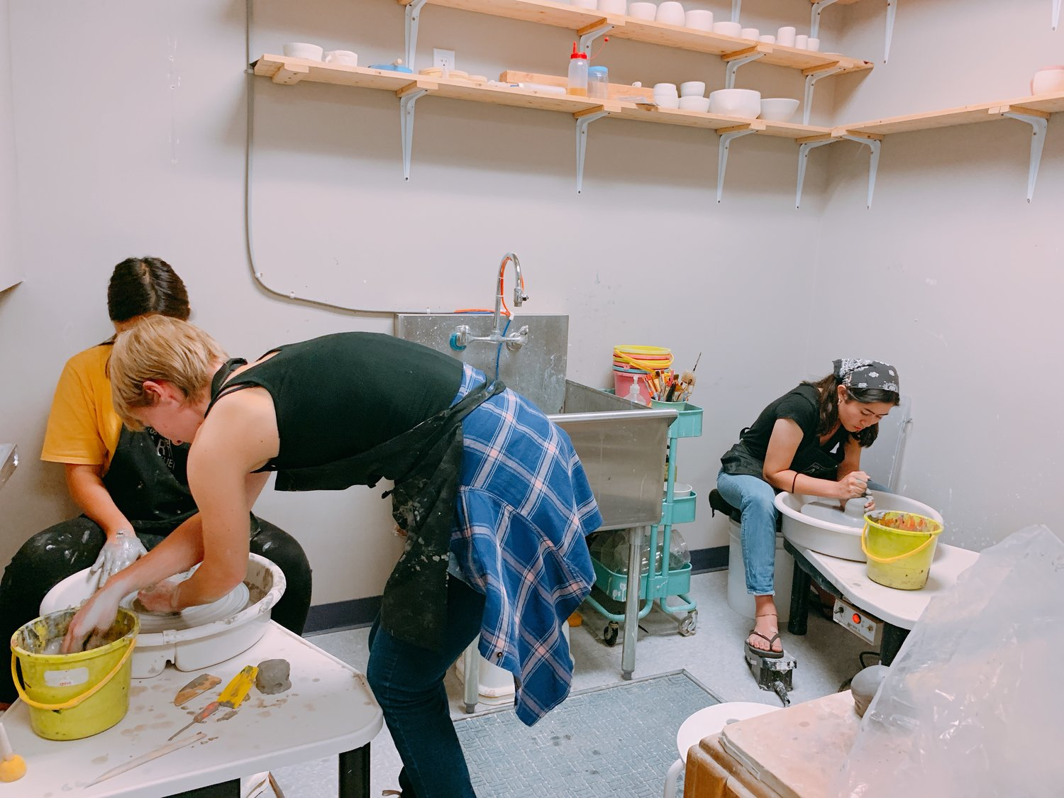 CERAMICS CLASS - Students will learn the wheel throwing process, and be able to make a cup, bowl and vase by the end of the class. Students will learn how to wedge clay, center their clay on the wheel and how to pull walls into various forms.