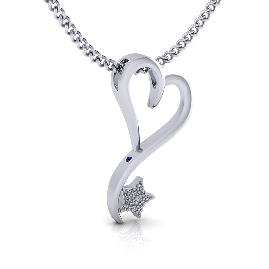 Silver and Rhodium plated with Diamond pave' option and peek-a-boo Sapphire