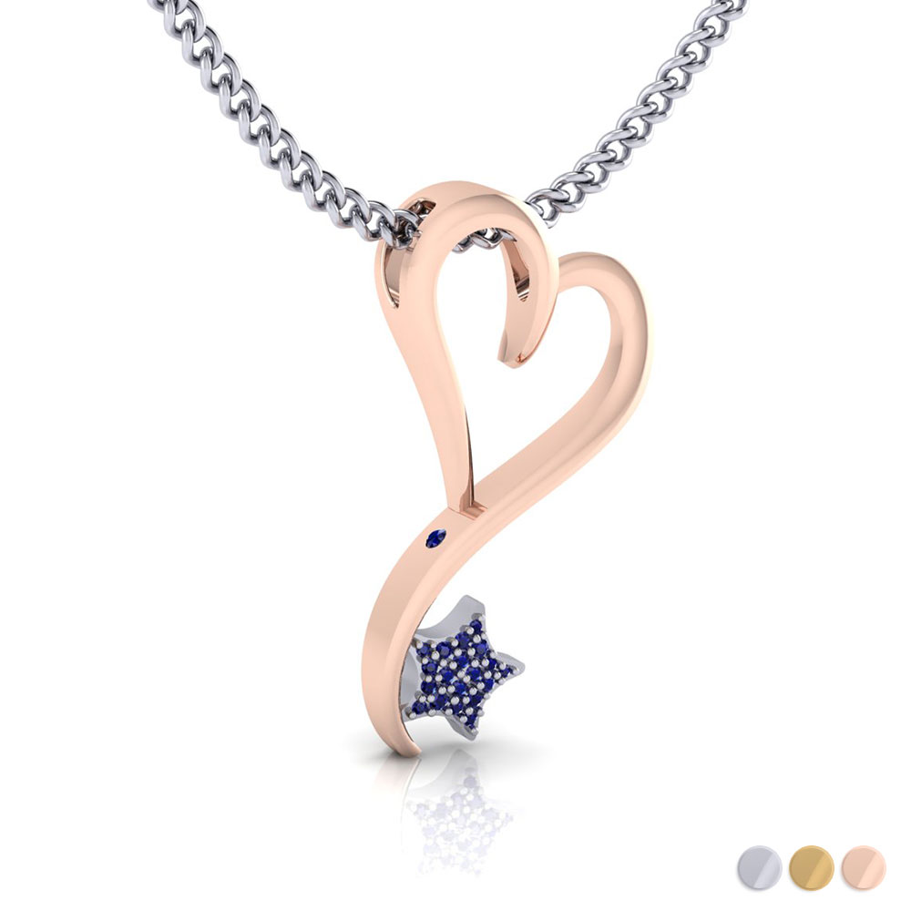 14K White, Yellow, Rose or two tone options in standard size (40mm) with .18ct pave' set Sapphire star and peek-a-boo inset Sapphire