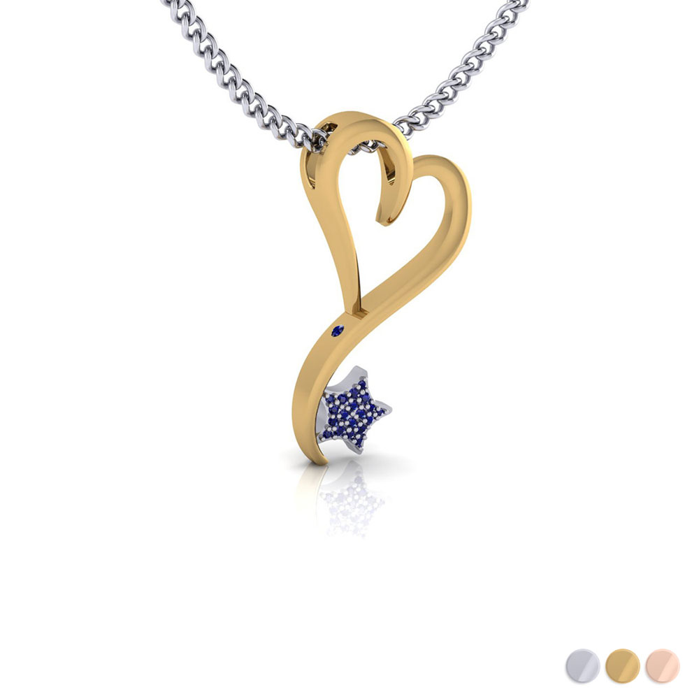 14K White, Yellow, Rose or two tone options in small size (25mm) with .18ct pave' set Sapphire star and peek-a-boo inset Sapphire