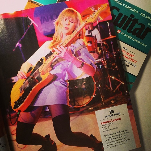 Live shot with the #TeleDeluxe in the June issue of @PremierGuitar! Photo by Arnold Wells.