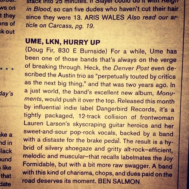 Portland tonight at @DougFirLounge presented by @SheShredsMag! Thanks @PortlandMercury for the nice writeup about the show!