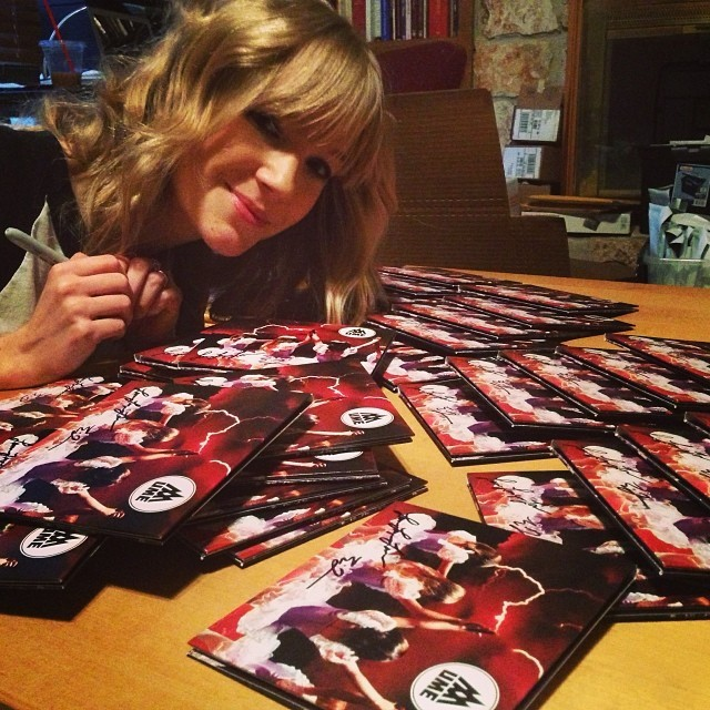 Signing CDs for Kickstarter backers!