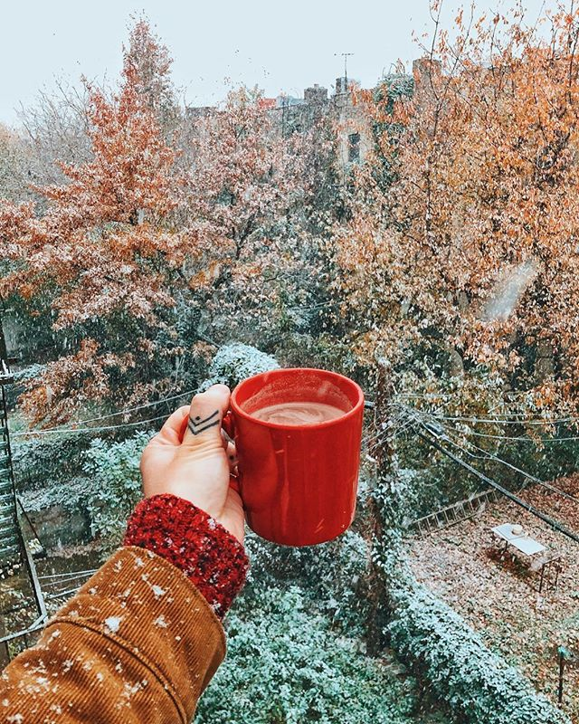 First snow in Brooklyn. 😍🌨 Had to make some hot chocolate and hop onto my fire escape for an obligatory #chrisdoesdrinks moment! . . . #brooklyn #firstsnow #snow #🌨 #nyc #hotchocolate #hotcocoa #whatimholding #whatimdrinking #fall #autumn #winter #snowing #snowday #letitsnow #festive #brooklynphotographer #nycphotographer