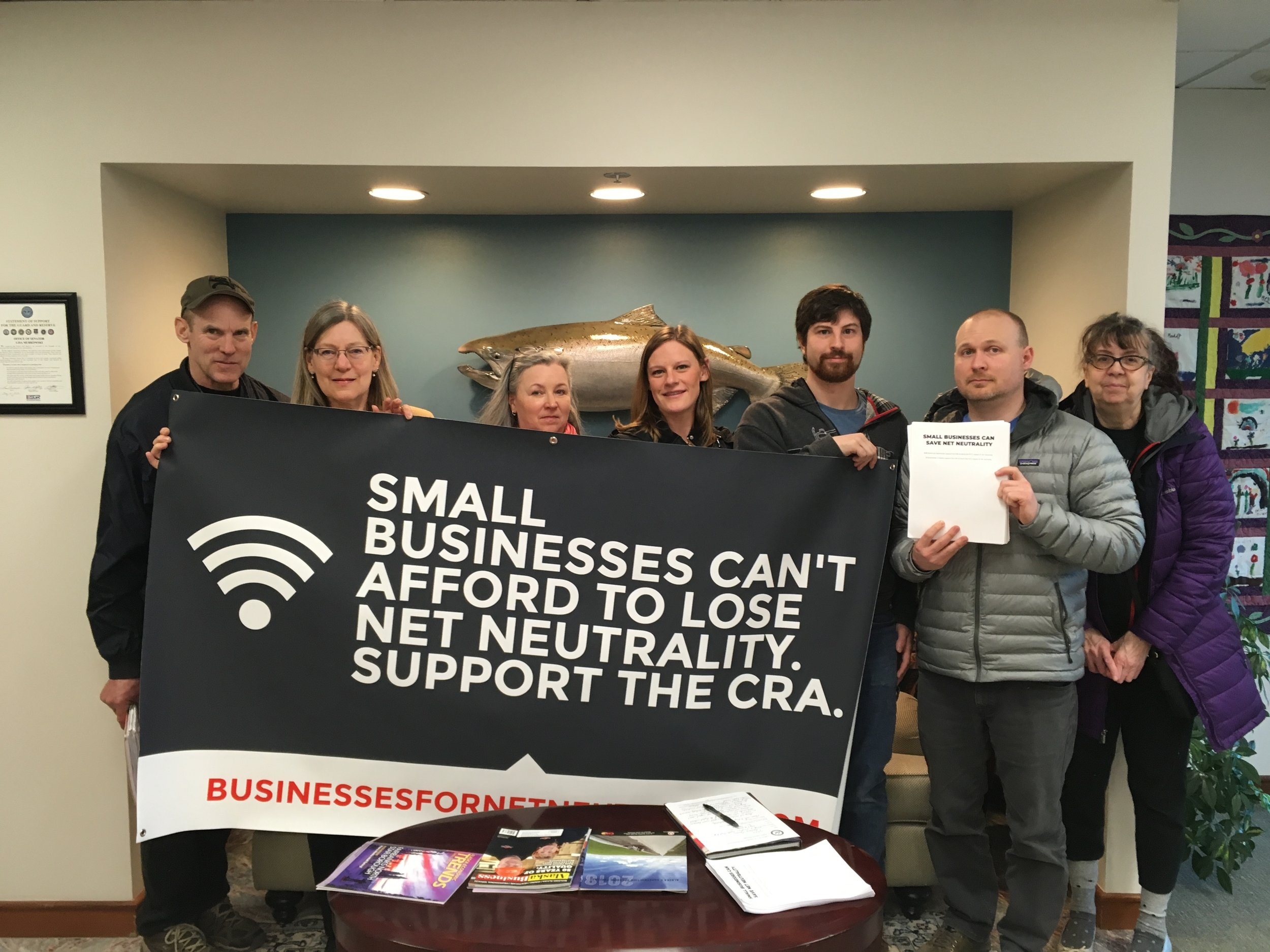 AKPIRG joined small business owners and grassroots activists in Anchorage the first week of May 2018 to stand in support of Net Neutrality protections.