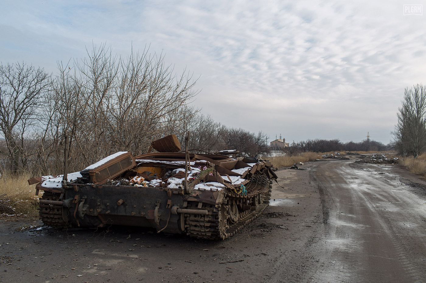 This Ukrainian tank was destroyed in an ambush during the height of the war, and is a somber reminder of the environment you're entering. All onboard died.