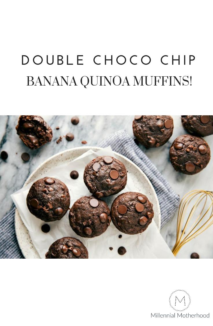 Millennial Motherhood   Double Chocolate Chip Banana Quinoa Muffins!