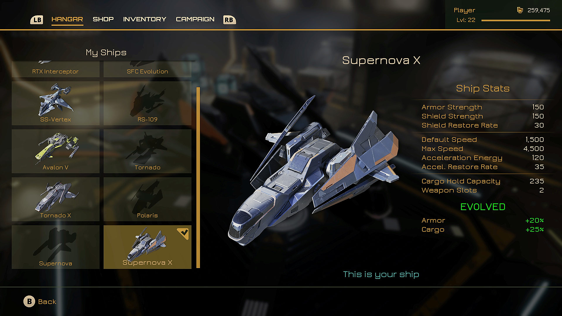 Upgrade your ship or acquire blueprints to unlock new ships!