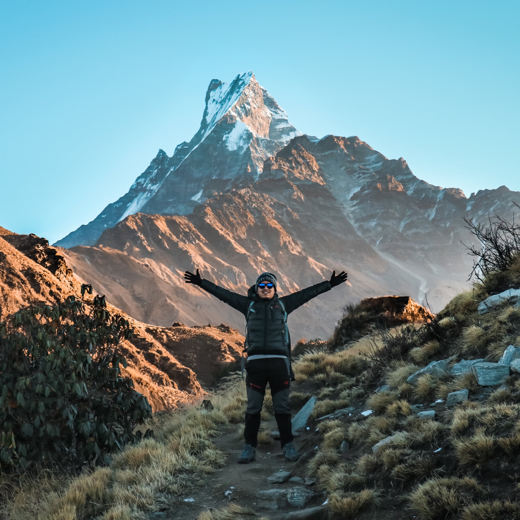 March 21 - Group morning stretching and mindfulnessStreep hike uphill towards DobataDramatic vistas of the iconic Macchapuchare, or Fishtail, dominate the skyline