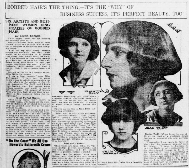 By Djuna Barnes - Arizona Republican. (Phoenix, Ariz.), 25 Sept. 1920. Chronicling America: Historic American Newspapers.  Lib. of Congress .,  Public Domain