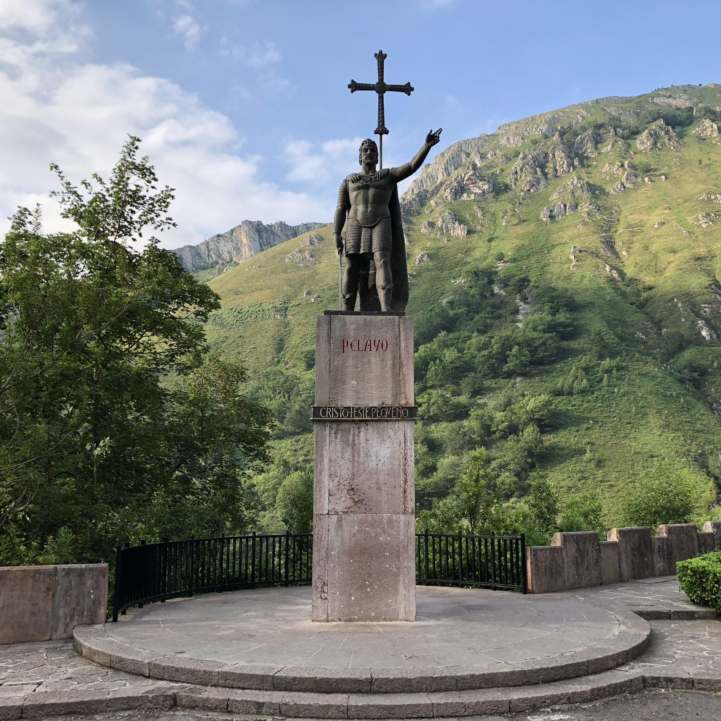 Statue of Don Pelayo, first King of Asturias.