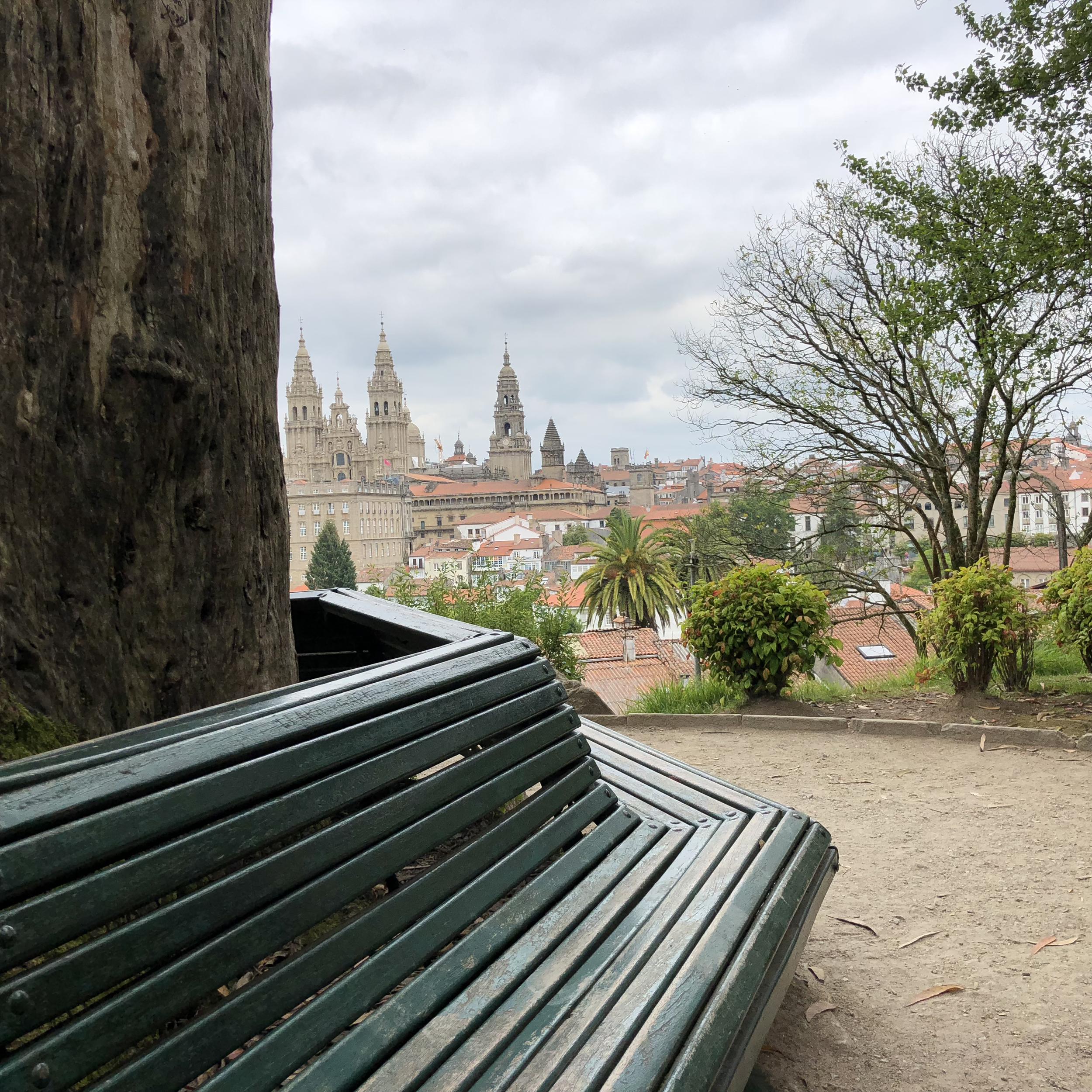 View of Santiago cathedral from Parque de la Alameda.