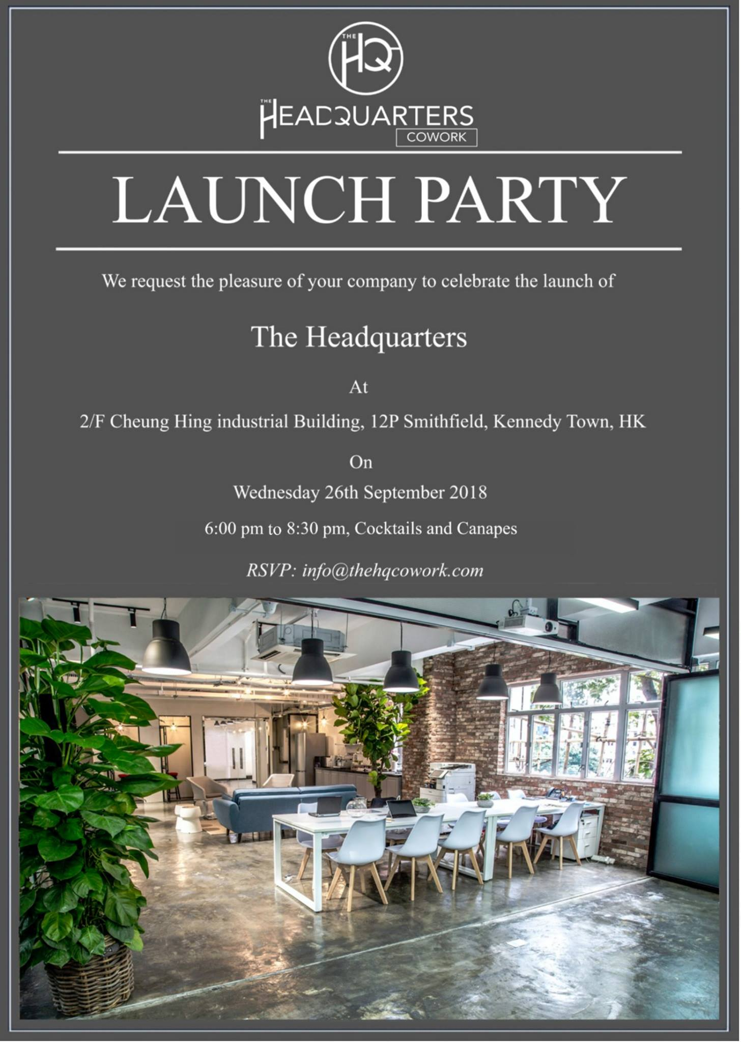 The HQ CoWork Launch Party - Wed 6pm to 8:30pm on 26Sep2018