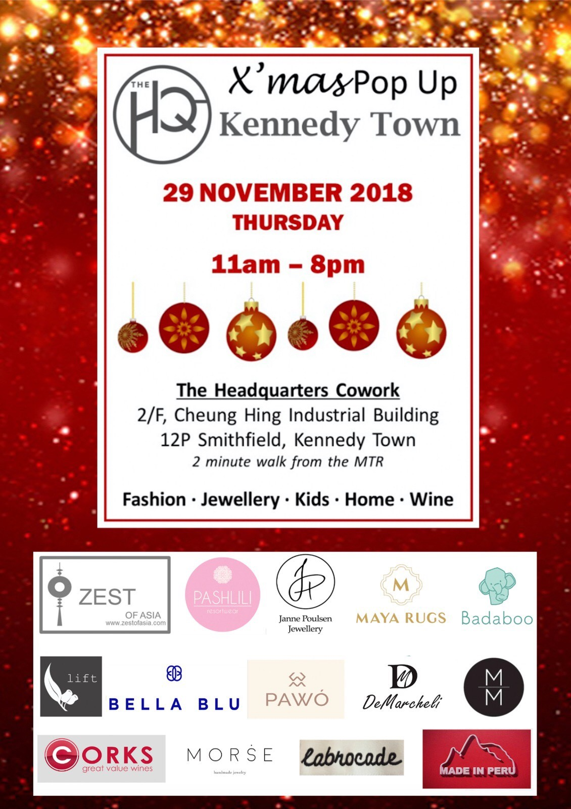X'mas Pop up event in The Headquarters Cowork - Thu 11am-8pm on 29Nov2018