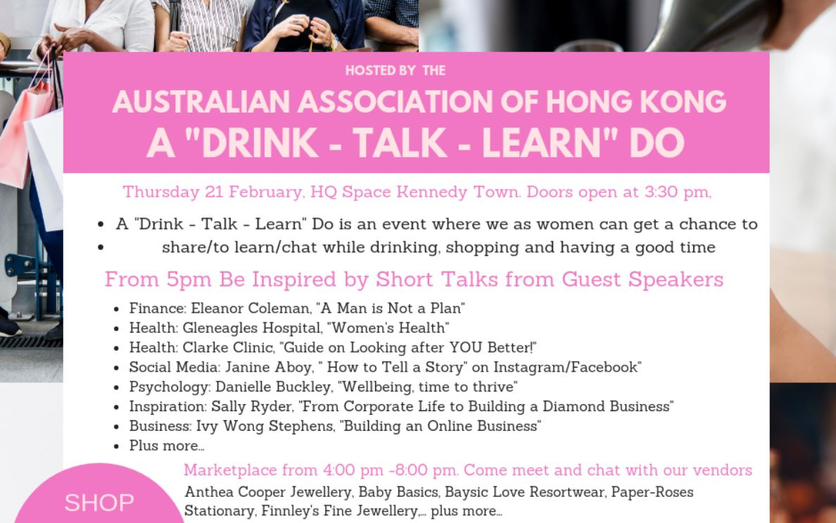 """A """"drink - talk - learn"""" do - by Australian Association Of Hong KongThu 21/02/2019 3:30pm to 8:00pm"""