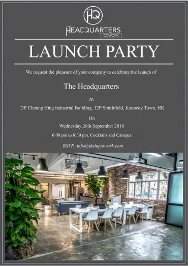 The HQ CoWork Launch Party - Wed 26/09/2018 6:00pm to 8:30pm