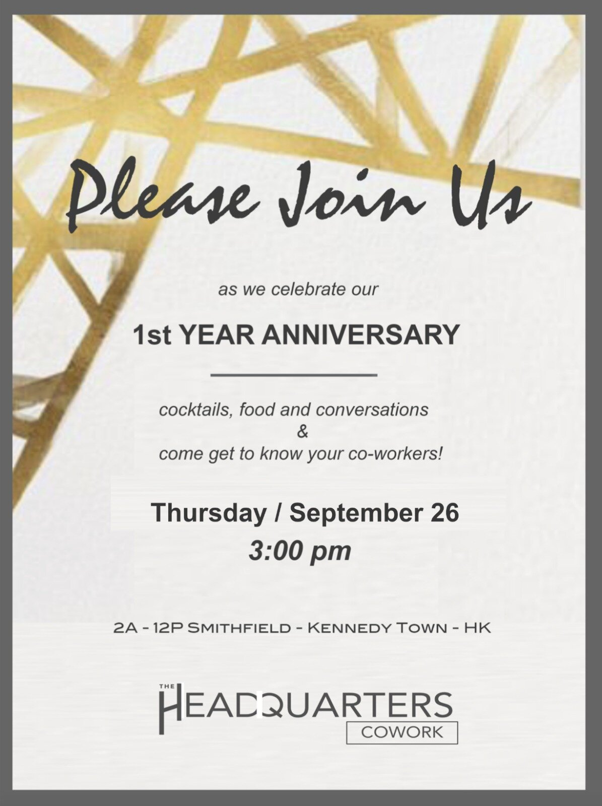 The HQ Cowork 1st year anniversary party - Thu 26/09/2019 3:00pm