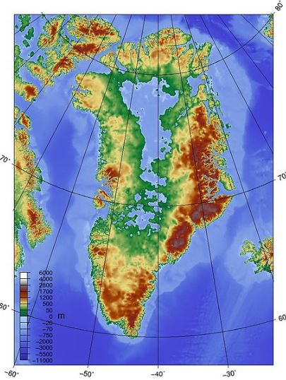Greenland without its ice sheet.If all of the ice were to melt, global sea levels would rise 7.2m.According to IPCC data, this would take several centuries at the current rate of warming.In 2007, they predicted a 1m increase by 2100 from Greenland ice melt, a number now being considered too conservative.