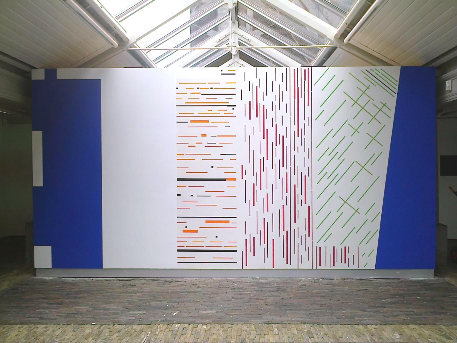 CROSSOVER, 09.08 - 21.09.2014, De Vishal, Haarlem / wallpainting / 518 x 270 cm / wallpaint + coloured vinyl foil