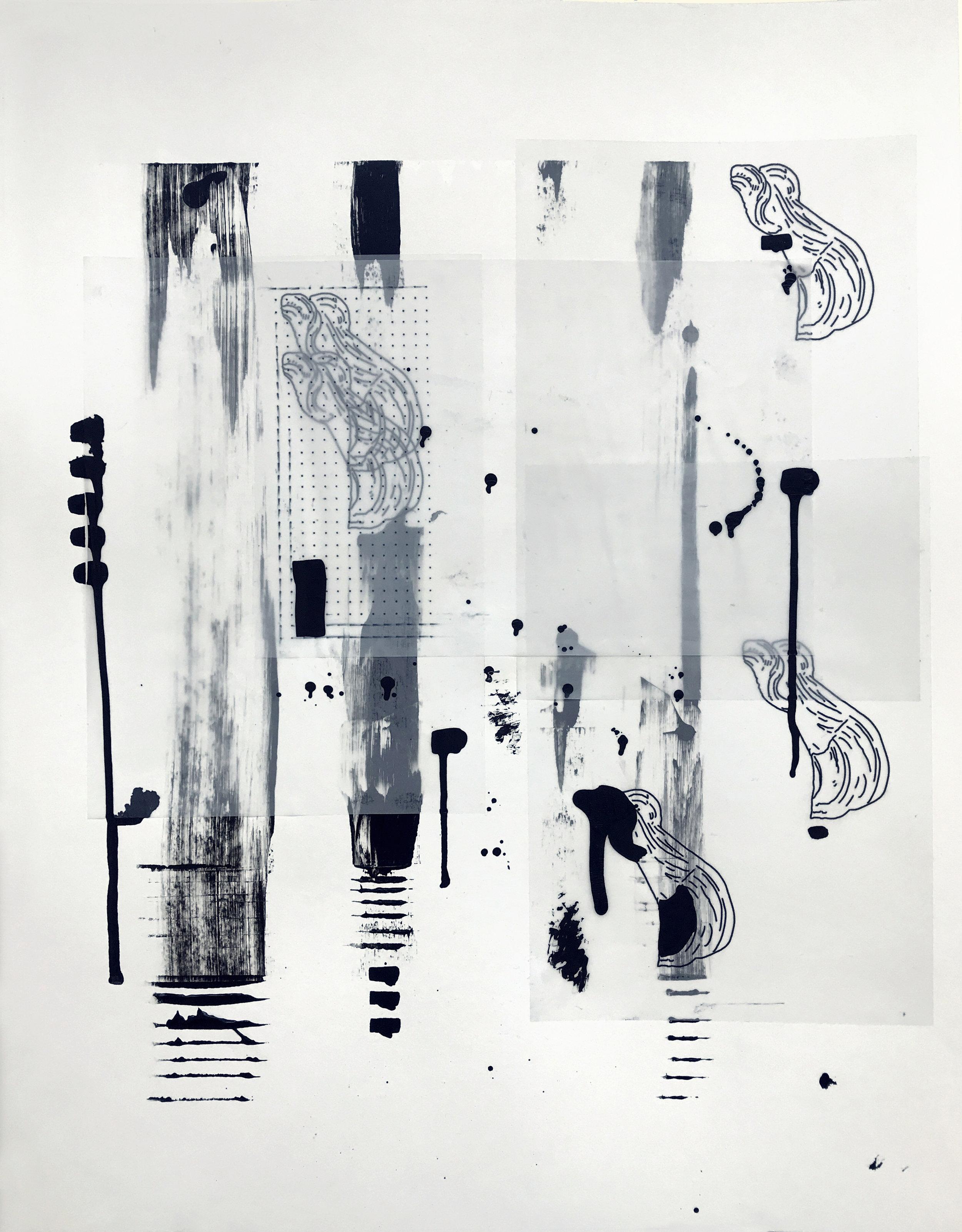 %22Detrás del espejo _ 21%22 - Técnica mixta sobre papel - 65 x 50 cm - Julián Brangold - 2018.jpg