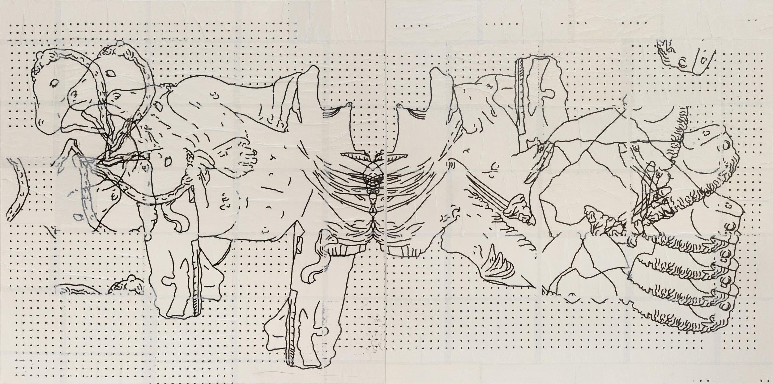 _ID 818_ - 120 x 240 cm - Pieza 1 - 120 x 120 - Pieza 2 - 120 x 120 - Acrílico, inkjet, mod podge, papel transparente, pegamento sobre tela - 2019.jpg
