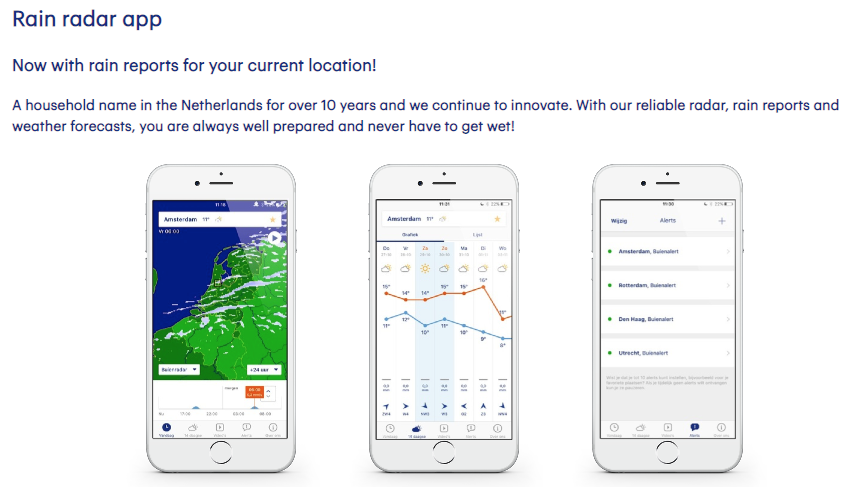 Buienradar is a must-have for anyone traveling to the Netherlands or Belgium