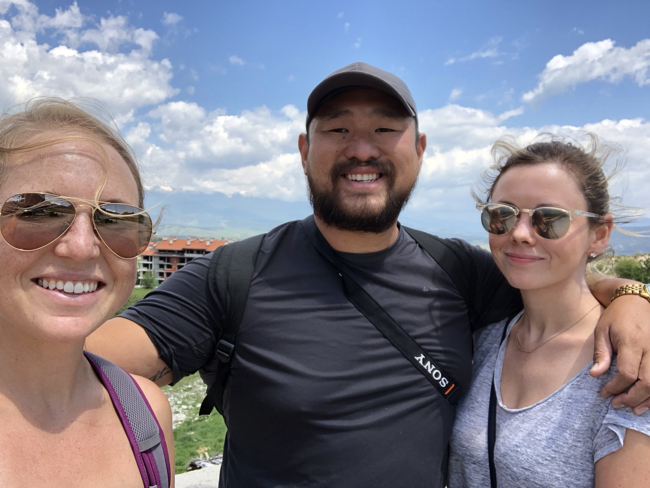 Johnny, Jenny, and I on a hike in Bansko