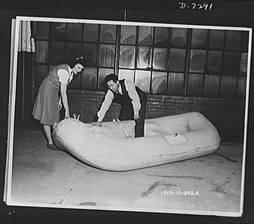 The raft pictured above is the same model used by Eddie Rickenbacker and his fellow castaways who were forced to ditch their B-17 in the South Pacific.   Image courtesy of the Library of Congress.