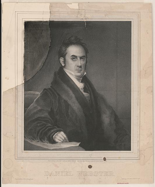 Drawing of Daniel Webster, 1833  Retrieved from the Library of Congress, https://www.loc.gov/item/2003653045/.