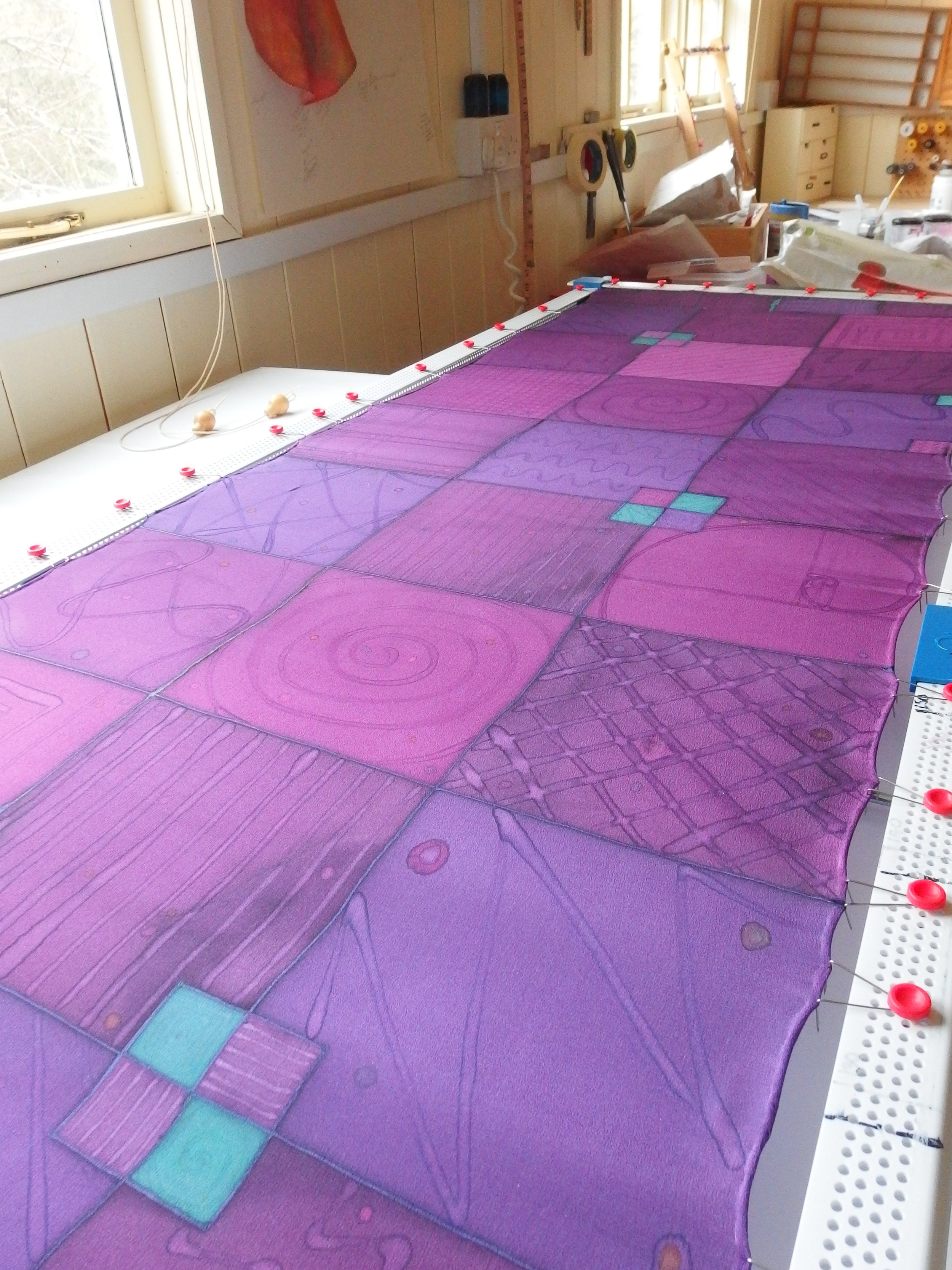 Commissioned Squares Scarf on the table in my studio.