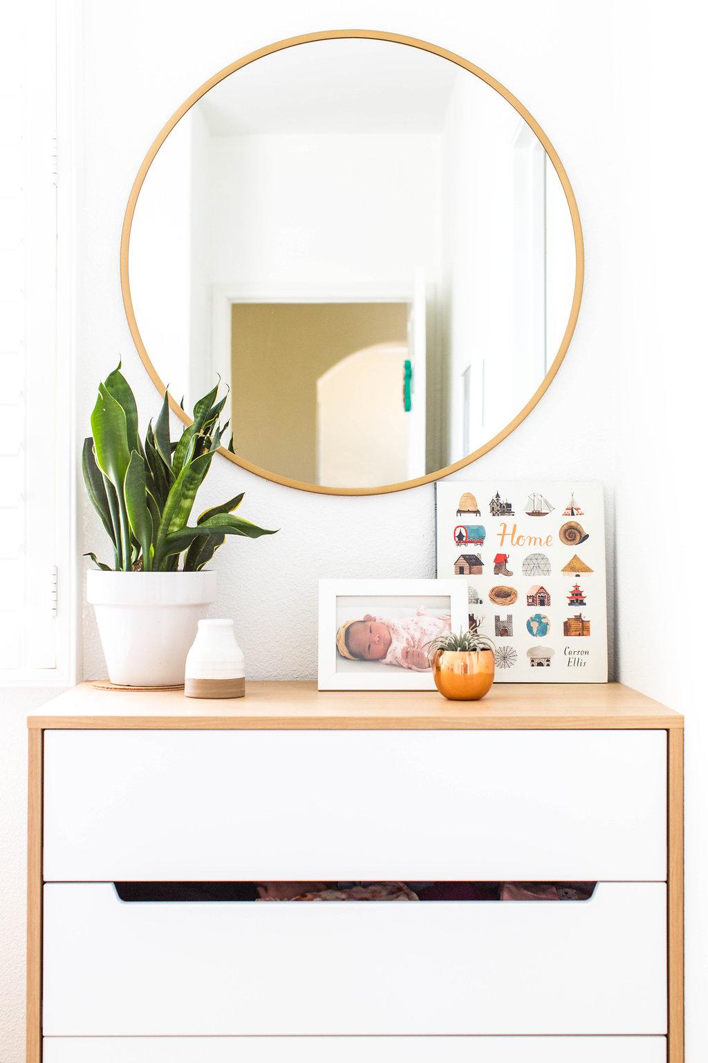 dresser  |  round mirror