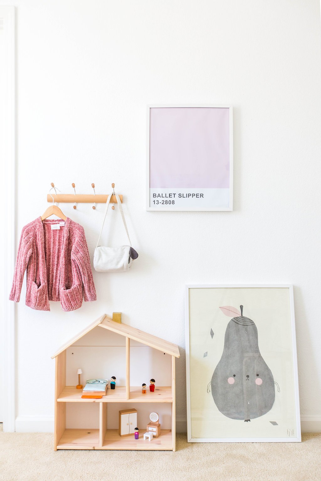 wall hooks  |  dollhouse  |  pear print  |  ballet slipper print