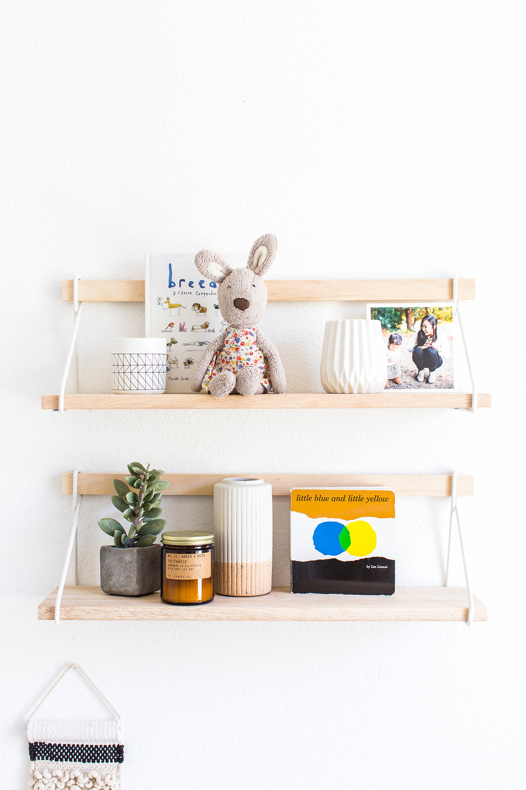 floating shelves  |  bunny  | two-tone vase (discontinued from UO)|  soy candle