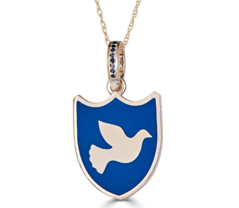 ENAMEL PEACE DOVE PENDANT IN 14K GOLD