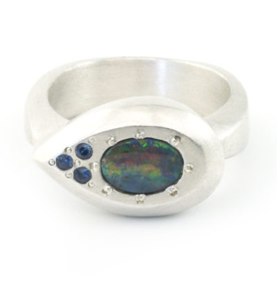 BOULDER OPAL AND SAPPHIRE RING BY  JILL KATHLEEN DESIGNS