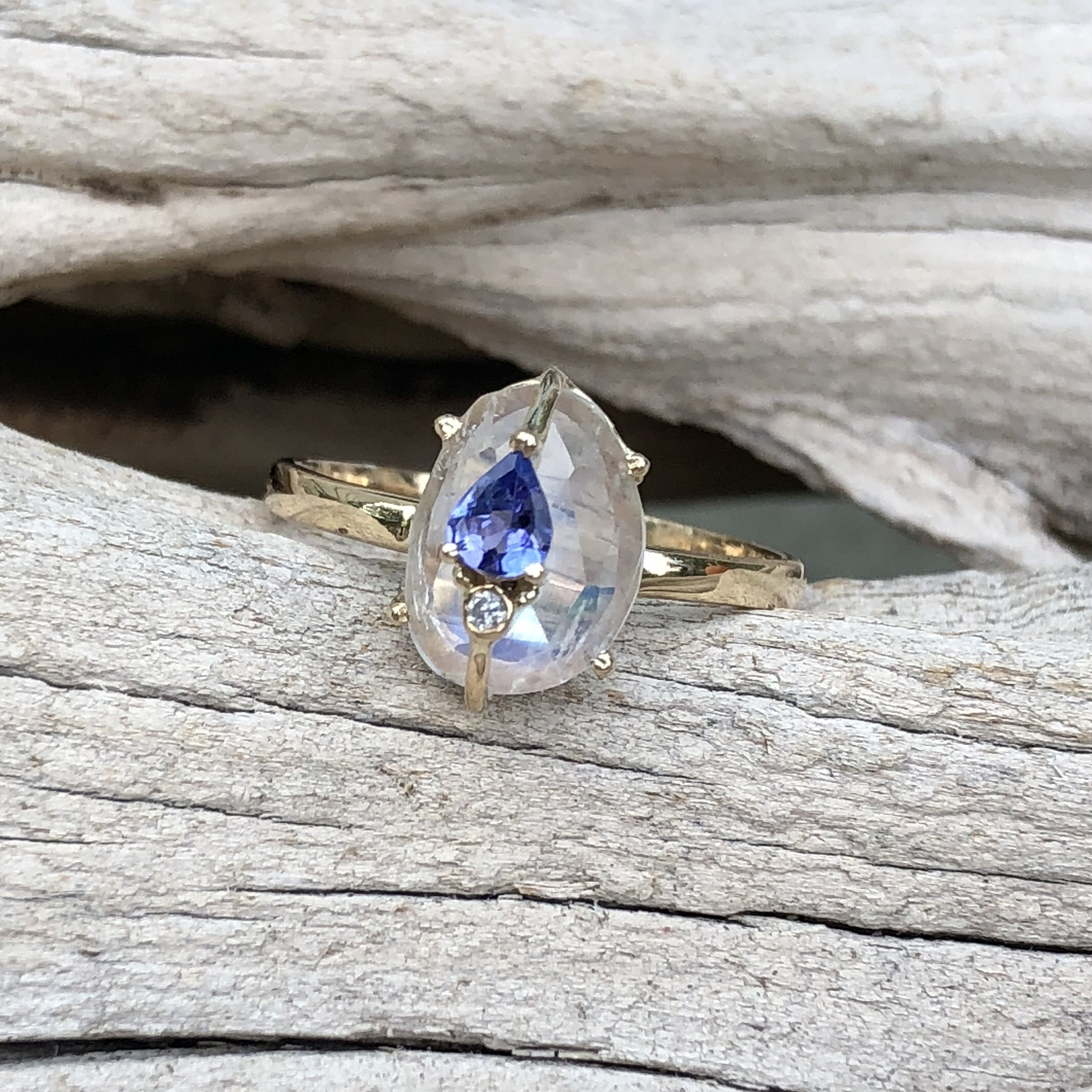 ENTER TO WIN THIS MOONSTONE AND TANZANITE RING BY LORIANN JEWELRY AT THE JEWELRY SHOWCASE