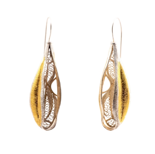 FINE SILVER AND GOLD FILIGREE EARRINGS