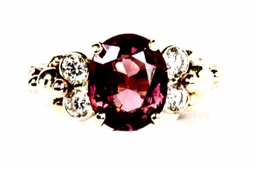 """MOLLIE"" GARNET AND DIAMOND RING BY  J.NOELLE"