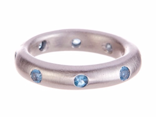 CLASSIC GEMSTONE BAND WITH AQUAMARINE BY ANDREA GUTIERREZ