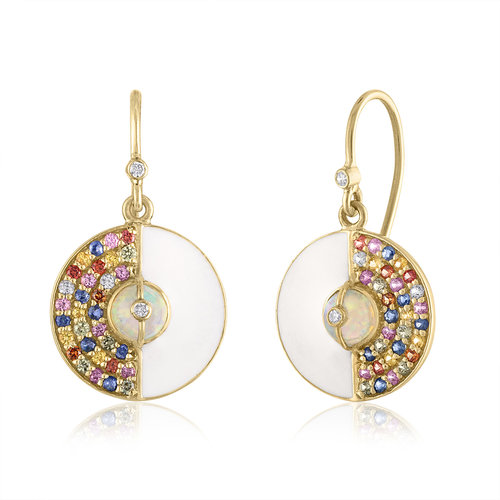 UNITY ROUND EARRINGS WITH ETHIOPIAN OPALS, WHITE ENAMEL AND RAINBOW SAPPHIRES