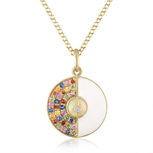 UNITY DISK PENDANT WITH ETHIOPIAN OPALS, WHITE ENAMEL AND RAINBOW SAPPHIRES