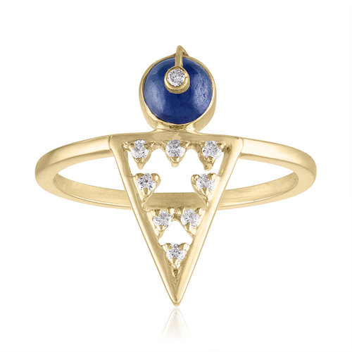 MODERNE GEOMETRIC RING WITH SAPPHIRES AND DIAMONDS
