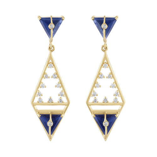 MODERNE GEOMETRIC EARRINGS WITH SAPPHIRES AND DIAMONDS