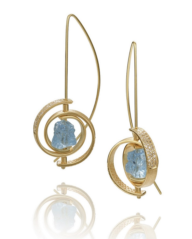 AQUAMARINE AND DIAMOND SPIRAL EARRINGS THE JEWELRY SHOWCASE
