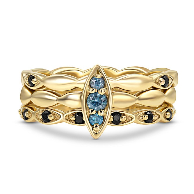 BLOOM STACKING RING SET WITH MONTANA BUE AND BLACK SAPPHIRES BY JENNIFER DEMORO