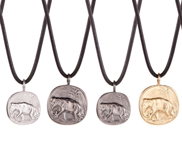 ELEPHANT CHARMS IN SOLID STERLING SILVER, RHODIUM AND GOLD BY ANDREA GUTIERREZ