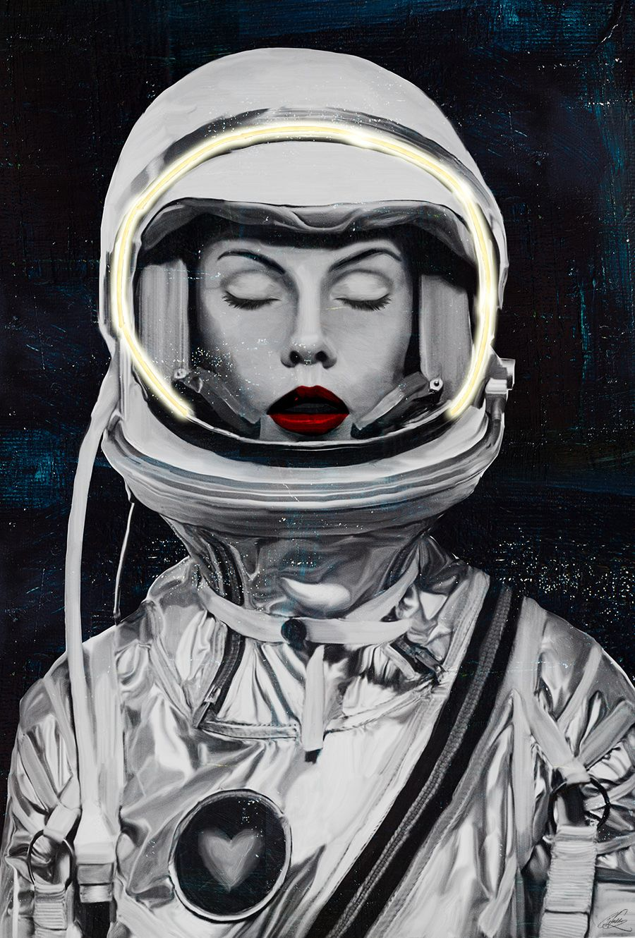 SpaceWoman - with neon light