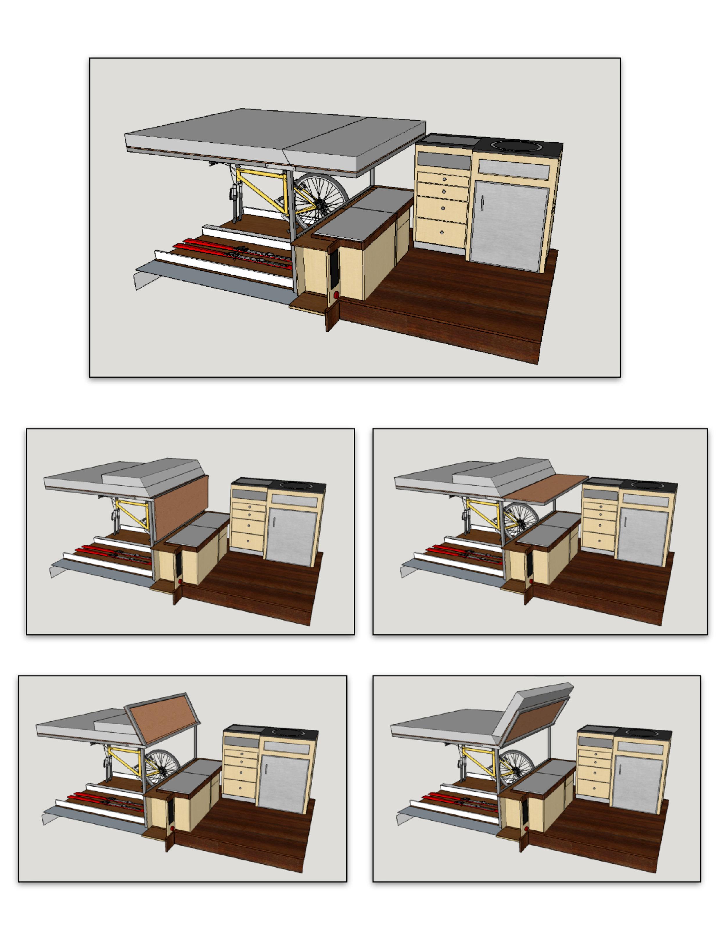 1- Bed mode 2- Countertop mode 3- Garage access mode 4- Chaise lounge mode 5- Settee mode