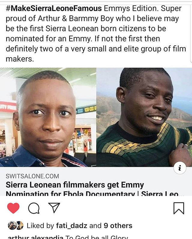 Could not be more proud of @arthur.alexandia, @barmmyboy and the whole WeOwnTV team! Thank you for recognizing this incredible film and providing yet another amazing opportunity to highlight heroic contributions of SIerra Leonean nationals like Mohamed and Margaret!